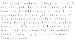 Moore dyslexia typeface